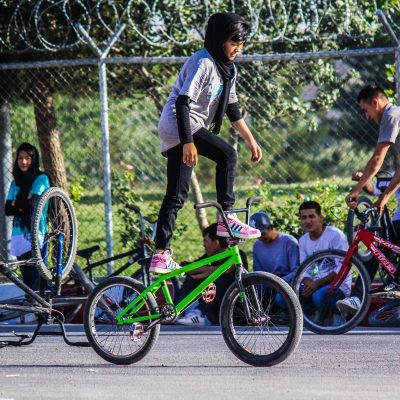 Girl on bike Kabul Afghanistan Drop and Ride Bmx Abasha