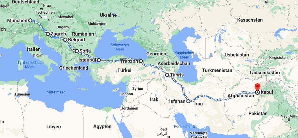 Strecke München Kabul